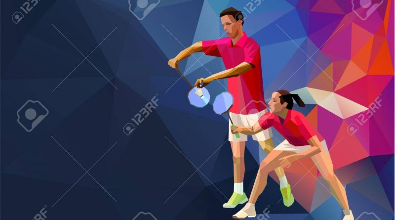 Illustration of two players playing doubles badminton.